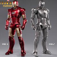 现货中动漫威钢铁侠MK3玩具手办MK2人偶模型发光格纳库机器人摆件