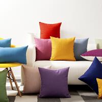 ins东方纯色彩红黄绿蓝紫色棉麻抱枕沙发飘窗汽车办公靠垫套靠枕
