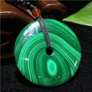 孔雀石平安扣挂件挂饰项链,纹理清晰流畅【AFH(A500#)】