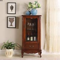 美式实木酒柜玻璃装饰柜展示柜 欧式单门红酒柜 客厅储物柜餐边柜 单门