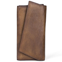 原创复古简约手拿包手工竖长款钱包真皮包头层牛皮个性男女通用潮