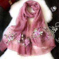 女士披肩纱巾长款真丝围巾女 薄款多功能中年刺绣丝巾 韩版百搭羊毛丝巾女
