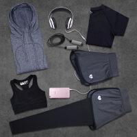 秋冬瑜伽服五件套装速干短袖上衣女健身房运动跑步服速干显瘦大码