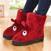 高帮保暖棉拖鞋全包跟女卡通可爱居家棉靴防滑加厚底拖鞋