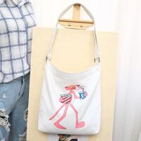 韩国可爱少女粉红豹情侣单肩手提帆布包斜跨百搭购物袋
