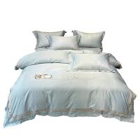 花花公子冰丝四件套春秋床上真丝被套新款网红款北欧风ins床单人
