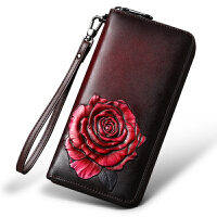 女士钱包2018新款韩版时尚真皮手包中老年人皮夹子个性气质手拿包 红牡丹