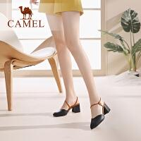 骆驼女鞋2019夏季新款粗跟鞋一字扣带真皮高跟鞋女百搭包头凉鞋女