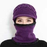 帽子女冬天针织毛线帽加绒加厚户外防寒中老年帽骑车防风妈妈帽哦新品 (加绒款)