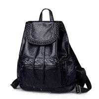 2018新款时尚软皮黑色女士双肩包女潮流休闲韩版学院女生两用背包 黑色