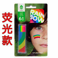 6色人体彩绘笔 彩虹条 安全无毒 儿童画脸棒 滑蜡笔 可人体彩绘,安全无毒,通过无毒检查 画在人体皮肤表面,可安心使用 用面纸、肥皂、洗面奶即可轻松擦拭和清洗颜料 色彩饱满鲜明