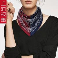 上海故事百搭女韩国装饰70cm围巾头巾真丝复古小方巾100%桑蚕丝