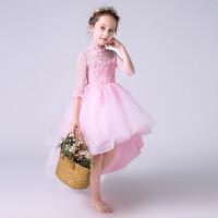 儿童公主裙夏女童礼服裙拖尾走秀表演钢琴演出服小花童婚纱蓬蓬裙