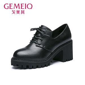 【到手109】戈美其秋季新款英伦风中口圆头系带女鞋高跟粗跟单鞋女休闲鞋