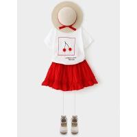 女童套装 2018夏季新款樱桃短袖T恤+花边半身裙两件套韩版 白色