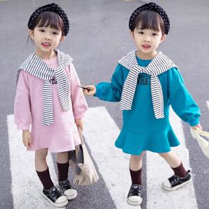 乌龟先森 儿童连衣裙 女童春季新款休闲公主长袖背心裙子中小童时尚女孩圆领童裙真两件套裙装