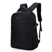 新款男士双肩包男商务电脑包女韩版潮中学生书包户外休闲旅行背包 黑色