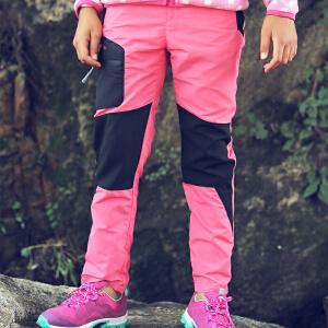 探路者TOREAD品牌童装 户外运动 春装秋装女童徒步拼接儿童长裤