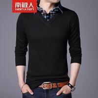 南极人新款针织衫秋季男士长袖T恤休闲男装衬衫领修身毛衣