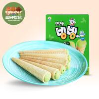 【三只松鼠_绿茶饼干53.4g】韩国进口九日牌欧巴熊冰淇淋形饼干