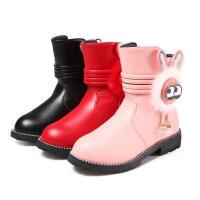 乌龟先森 儿童靴子 女童侧拉链中筒加厚马丁靴冬季新款韩版儿童时尚休闲舒适百搭鞋子