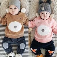 婴儿加绒上衣冬季宝宝外套加厚卡通新生儿男女绒衫保暖01岁3-12月