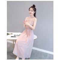 2018夏季新款修身显瘦粉色无袖中长款仙女裙度假沙滩裙雪纺连衣裙