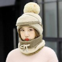 户外运动毛线针织套头护耳防寒骑车保暖加厚韩版百搭帽子围脖一体女