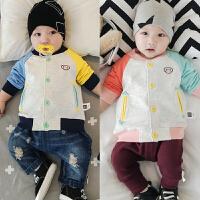 婴儿卫衣春秋装 宝宝上衣开衫拼色外套 0-1岁新生满月A类外出衣服
