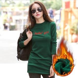 加绒加厚保暖半高领长袖中长时尚T恤女士打底衫韩版套头绣花女T恤