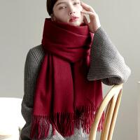 韩版时尚加厚羊毛围巾大披肩保暖黑色春秋冬季女两用纯色长款围脖