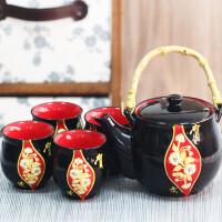 陶瓷色釉礼品茶具五件套和风日式茶具 整套茶具功夫茶道整套家用泡茶壶茶杯 水杯 杯子