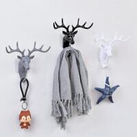 创意鹿角家居装饰挂钩个性鹿头免打孔墙上粘钩墙壁挂钥匙钩子