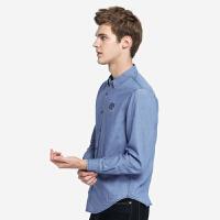 骆驼男装 秋季新款青年时尚纯色修身尖领水洗长袖牛仔衬衫男