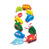 Hape趣味交通工具串绳1-6岁儿童益智早教积木玩具婴幼玩具木制玩具E0905