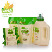 小浣熊婴儿童衣物清洁套装洗衣液1.2L+0.5L*3送尿布皂*3