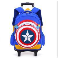 新款美国队长小学生拉杆书包男童1-3-6三轮爬楼梯儿童书包