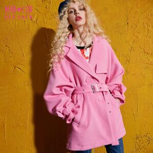 妖精的口袋系带魅惑秋装新款中长款宽松排扣毛呢大衣外套女