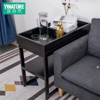 定制沙发边柜扶手长方形实木角几置物架简约现代北欧创意客厅茶几