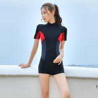 女士韩国泳衣连体短袖平角裤学生训练速干透气游泳保守显瘦防晒 黑色 8003