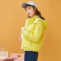 森马羽绒服 冬装 女士简约可拆卸帽防风保暖直筒外套韩版