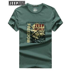 JEEP吉普短袖t恤男2018夏装新款印花图案圆领半袖T恤打底汗衫