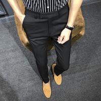 伦休闲西裤男士修身韩版时尚青年英伦西装长裤潮流小脚裤