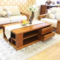 新中式纯实木茶几 现代客厅全实木家具胡桃木茶几带抽屉