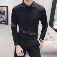 2018春装新款英伦个性时尚发型师男长袖衬衫韩版修身蕾丝拼接衬衣