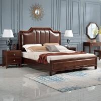 美式家具实木床1.8m轻奢双人床架现代简约公主真皮软包靠背床主卧 1800mm*2000mm 支架结构
