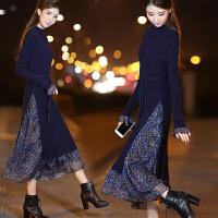 安妮纯女装秋冬修身中长款连衣裙2020新款女显瘦针织长袖裙碎花喇叭袖长裙