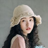 柔软可折叠盆帽韩版扇子花毛线帽子羊毛混纺钩针小沿渔夫帽女