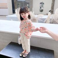 女童彩色雏菊套装宽松夏装儿童洋气阔腿裤两件套