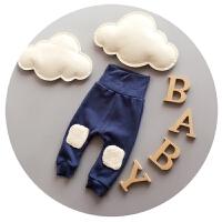 男童裤子加绒婴儿抓绒棉裤宝宝高腰护肚裤秋冬季0-1-2岁打底裤潮